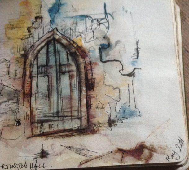 Church door at Dartington Hall