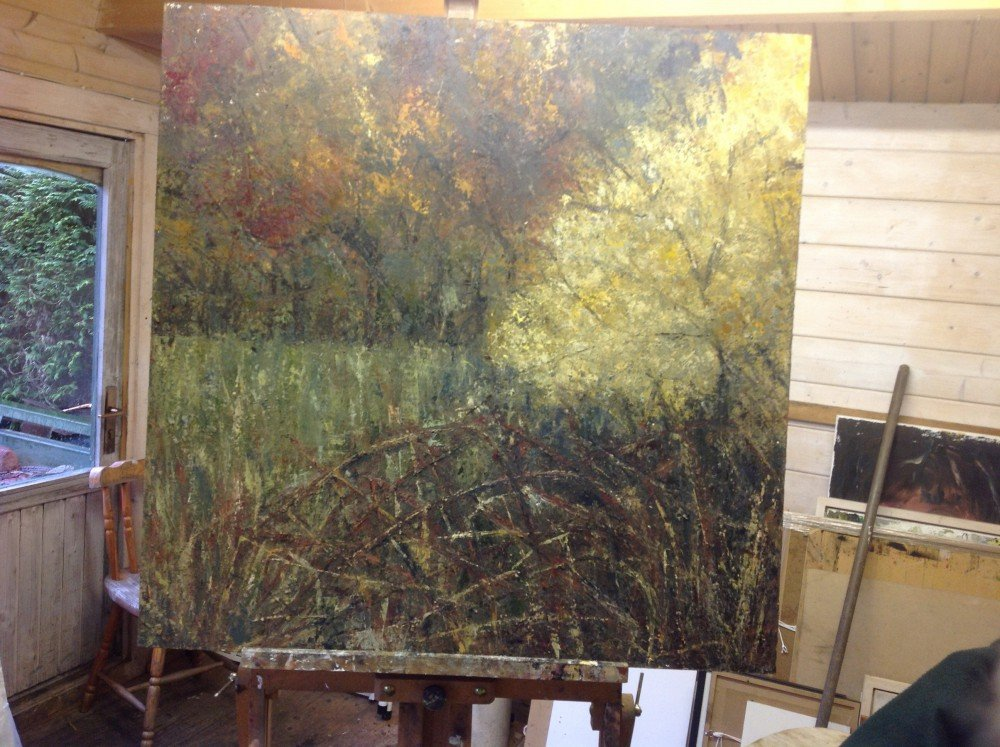 Painting on easel in shed