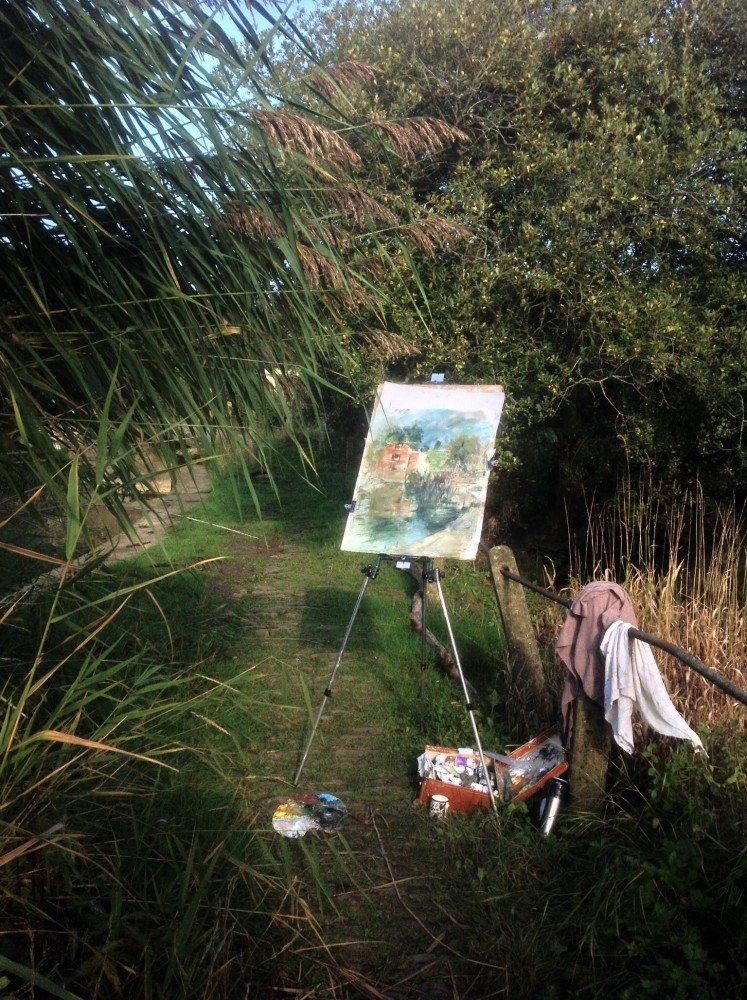 I love painting outdoors - Painting at Cutt Mill Autum 2013